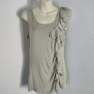 Cable & Gauge Tan Size L Ruffled Tank Top